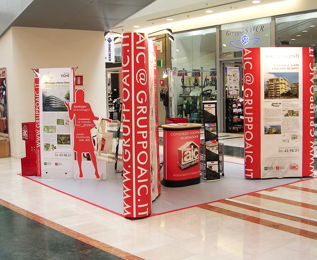 Allestimento stand per Aic di Sogester, azienda che offre servizi pubblicitari alle imprese